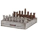 Game - Chess Set With Storage Drawers brown and cream